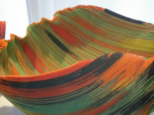 The colorful fibers of this bowl
